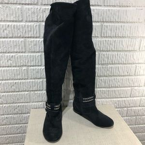 BCBGeneration Black Suede Knee-High Boots Size 8